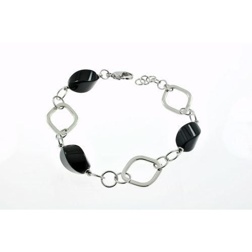 Edelstaal armband met onyx model KATYA