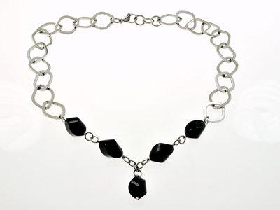 Edelstaal halsketting met onyx mineralen model KATYA