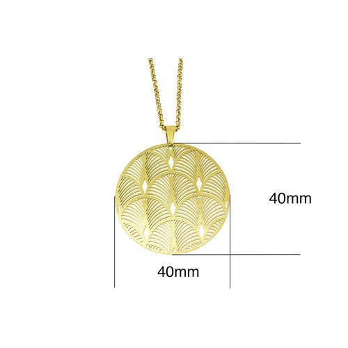 Edelstaal hanger met ketting 42+4cm geel goud verguld model DEMI
