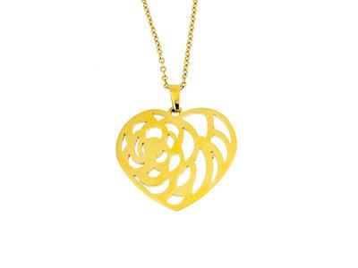 Edelstaal hanger met ketting model geel goud verguld LYLA