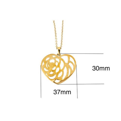 Edelstaal hanger met ketting model rosé goud verguld LENA