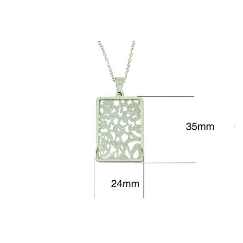 Edelstaal hanger met matte delen en ketting 42+4cm JOSY