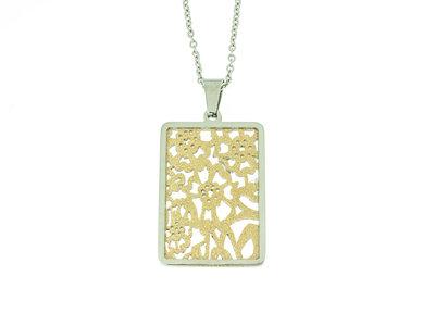 Edelstaal hanger met matte en geel goud vergulde delen en ketting 42+4cm ARIELE