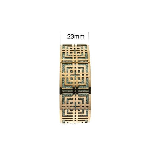 Edelstaal vaste armband met glitter en rosé goud verguld LIVIA