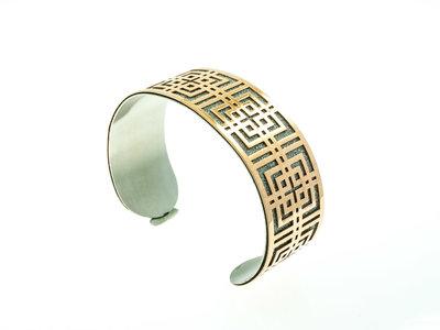 Bracelet acier rigide avec granité et placage or rosé LIVIA