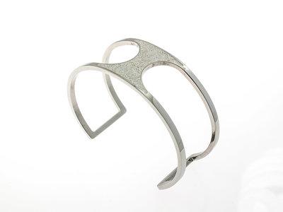 Edelstaal vaste armband met glitter ANNA