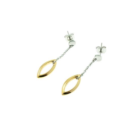 Edelstaal oorbellen deels geel goud verguld model LUNA