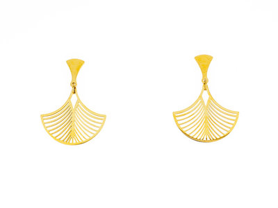 Edelstaal oorbellen geel goud verguld model LUCIE