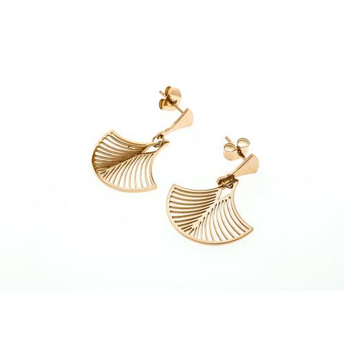 Edelstaal oorbellen rosé goud verguld model LEONIE