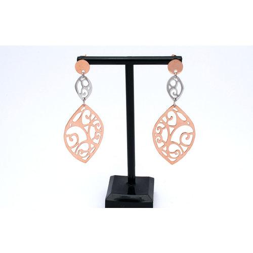 Edelstaal oorbellen met delen verguld met rosé goud model GLORIA