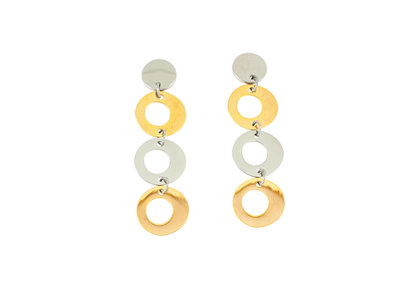Edelstaal oorbellen deels verguld met geel goud model GIULIA