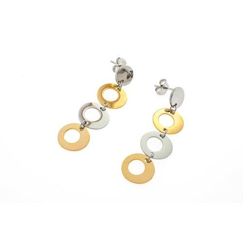 Boucles d'oreilles acier en partie avec placage or jaune modèle GIULIA