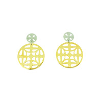 Boucles d'oreilles acier en partie avec placage or jaune INES