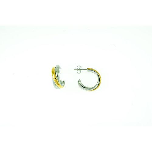 Edelstaal oorbellen met delen verguld geel goud MIRA