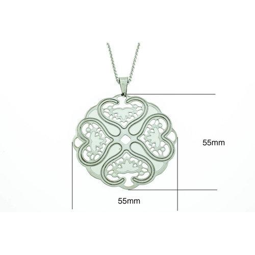 Edelstaal grote hanger met witte elementen en lange ketting 70+10cm MIA