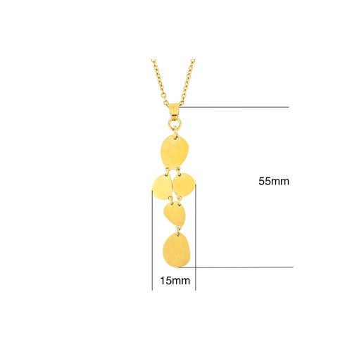 Edelstaal hanger matte afwerking en geel goud verguld met ketting 42+4cm MABEL