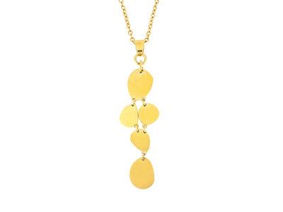 Pendentif acier avec finition matte et placage or jaune avec chaine 42+4cm MABEL