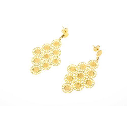 Edelstaal oorbellen geel goud verguld ELSA