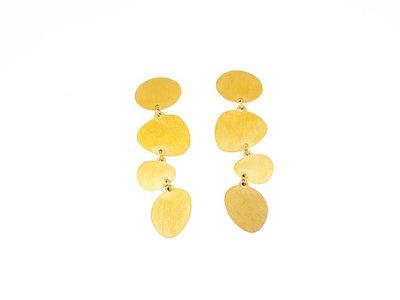 Edelstaal oorbellen matte afwerking en verguld geel goud LILY