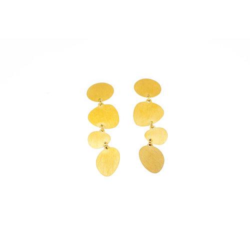 Boucles d'oreilles acier finition matte et placage or jaune LILY