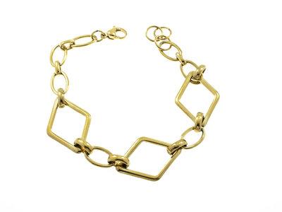Edelstaal armband verguld met geel goud model ALYSON