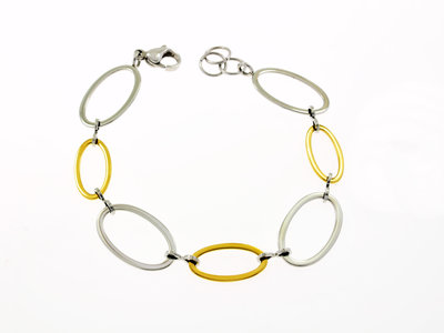Edelstaal armband bicolor verguld met geel goud HELEN