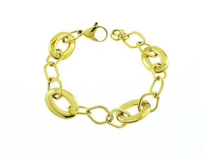 Edelstaal armband verguld met geel goud SYBIL