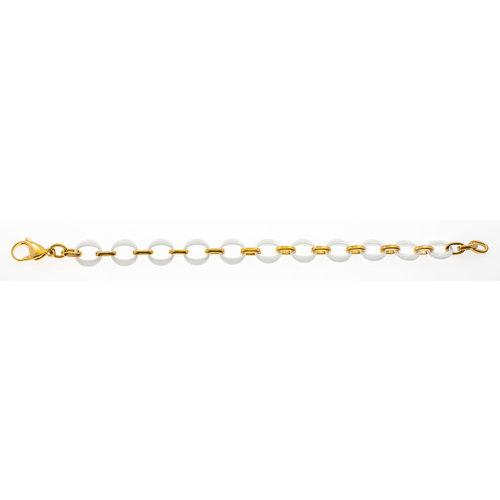 Bracelet acier avec placage or jaune et céramique blanche ELISE
