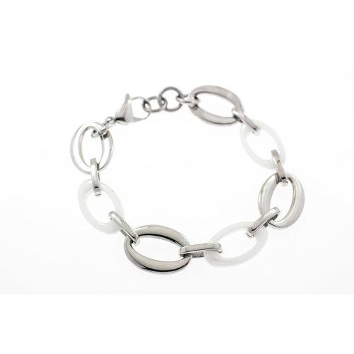 Bracelet acier avec céramique blanche ANNABEL