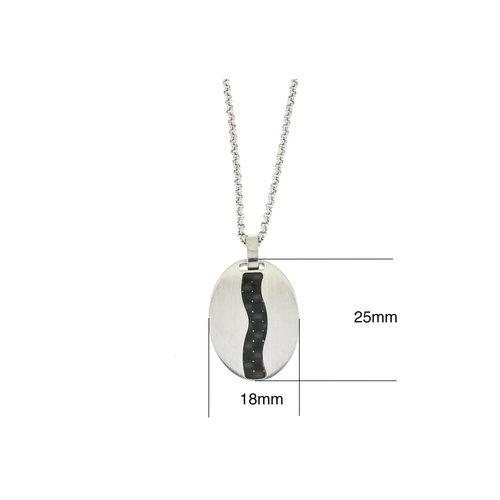 Pendentif acier avec carbone et chaine 50+10cm MARC