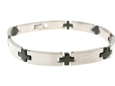 Edelstaal armband met zwarte delen voor heren HUGO