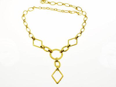 Edelstaal halsketting geel goud verguld ALYSON