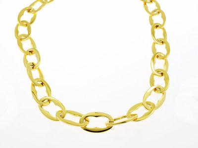Edelstaal halsketting verguld met geel goud ROSIE
