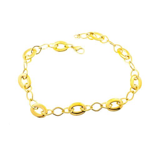 Edelstaal halsketting verguld met geel goud SYBIL