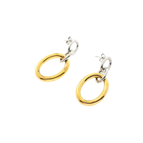 Boucles d'oreilles acier avec placage bicolore or jaune DAISY