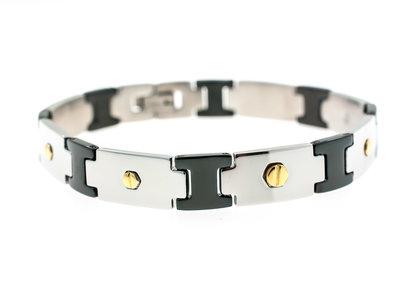 Bracelet acier pour HOMMES avec des parties noires et des pièces avec placage or jaune SAM