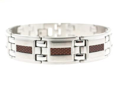 Edelstaal armband voor HEREN met bruine carbon JAMES