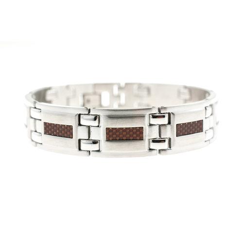 Bracelet acier pour HOMMES avec carbone marron JAMES
