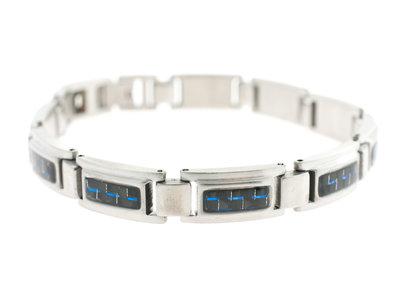 Bracelet acier pour hommes avec carbone bleu KEVIN