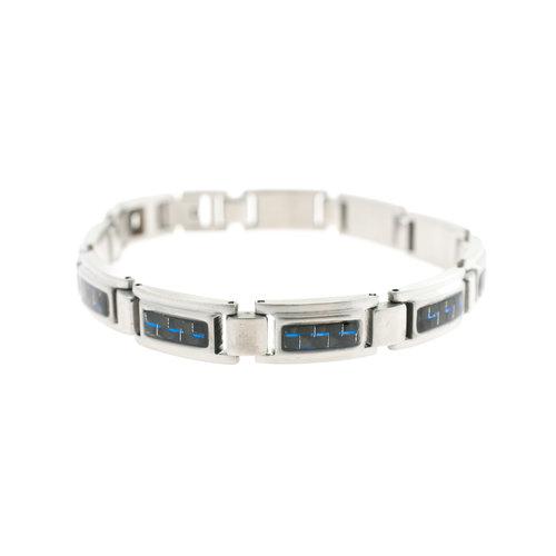Edelstaal armband voor heren met blauwe carbon KEVIN