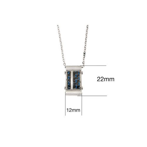 Edelstaal hanger voor heren met blauwe carbon en ketting DANIEL