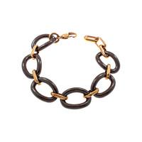 Bracelet acier avec placage or rosé et céramique marron foncé MEGHAN
