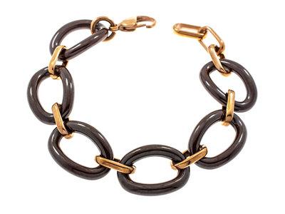 Edelstaal armband verguld met rosé goud en met donkerbruine keramiek MEGHAN