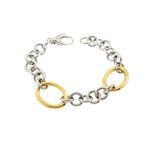 Edelstaal armband bicolor verguld met geel goud CAROL