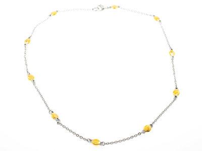 Collier acier avec placage bicolore or jaune DONNA