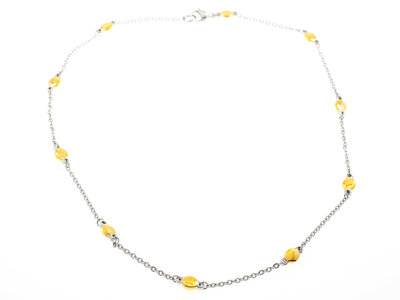 Edelstaal halsketting bicolor verguld met geel goud DONNA