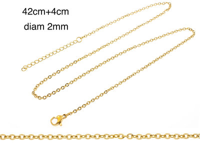 Chaine fine acier pour pendentif placage or jaune MARIE