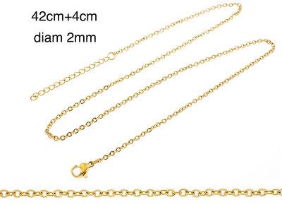 Edelstaal fijne ketting voor hanger geel goud verguld MARIE