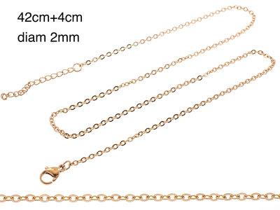 Chaine fine acier pour pendentif placage or rosé MARIE