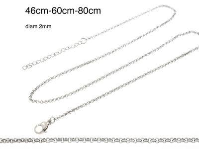 Chaine fine acier pour pendentifs ADELINE (3 longueurs)